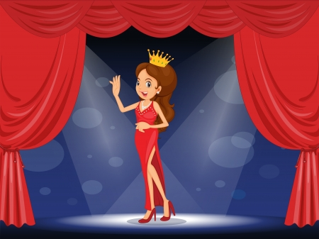 beauty contest: Illustration of a lady with a crown at the stage