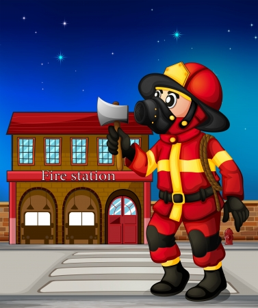 safety: Illustration of a fireman holding an ax outside the fire station