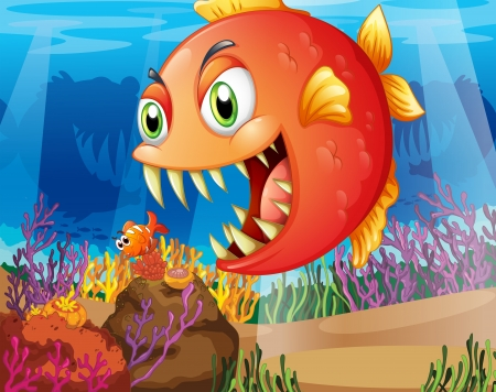 nemo: Illustration of a predator and a prey under the sea