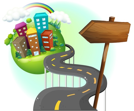 asphalt: Illustrtaion of a road going to the city with an arrowboard on a white background Illustration