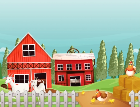 swingdoor: Illustration of a farm with goats and chickens Illustration