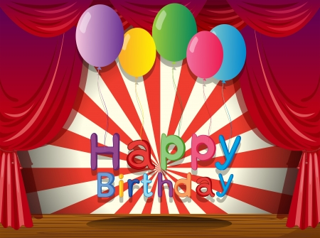 centerstage: Illustration of a happy birthday greeting at the stage