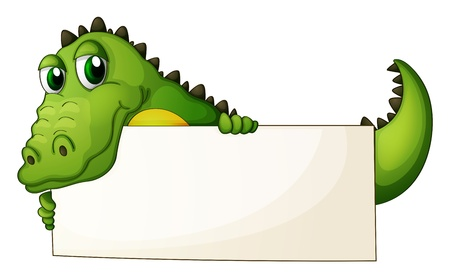 Illustration of a crocodile holding an empty signage on  a white background Vector