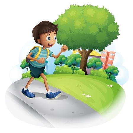 niño con mochila: Ilustración de un niño con una bolsa de caminar por la calle en un fondo blanco