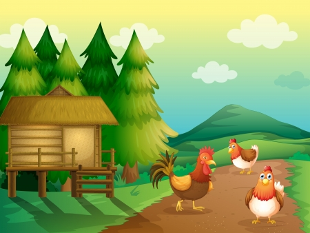 farm land: Illustration of a farm with chickens and a native house