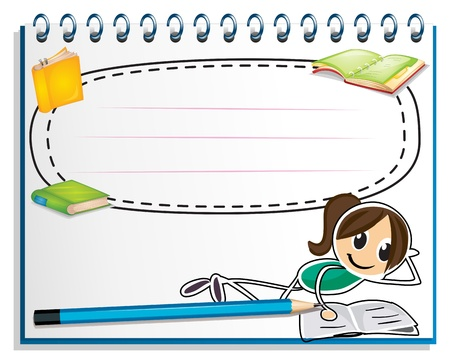 Illustration of a notebook with a drawing of a girl reading on a white background Vector