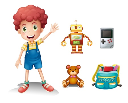 play boy: Illustration of a young boy and his toys on a white background