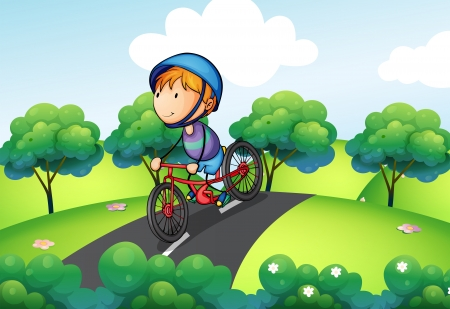 Illustration of a boy riding in his bike Vector