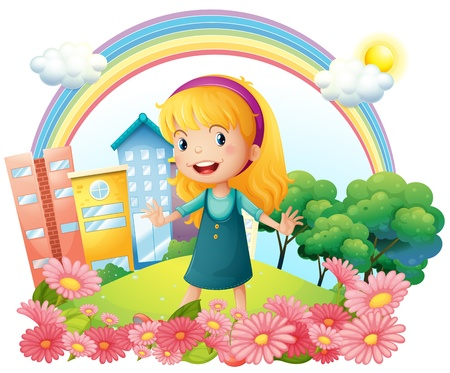 establishments: Illustration of  a little girl standing in the garden on a white background