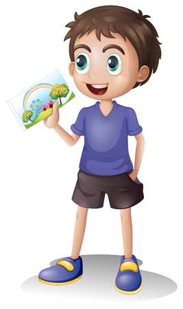 explain: Illustration of a boy holding a picture on a white background