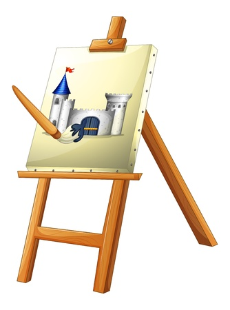 Illustration of a painting with a paint brush on a white background Vector
