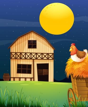 barnyard: Illustration of a wooden farm barn