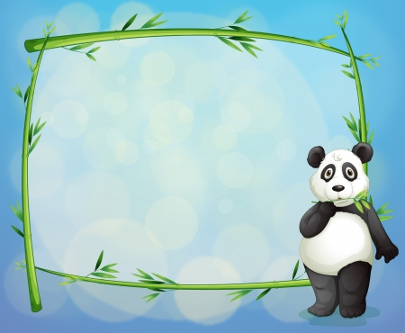 panda bear: Illustration of a panda beside a framed bamboo tree