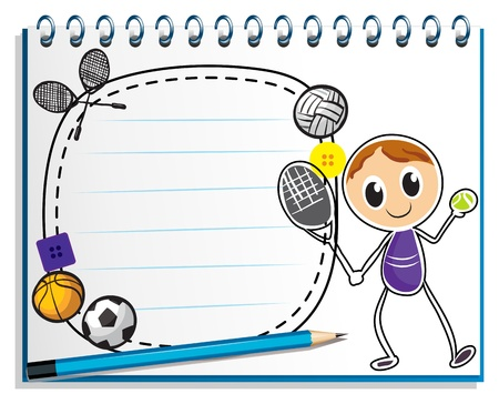 Illustration of a notebook with a drawing of a boy playing tennis on a white background Stock Vector - 19301302