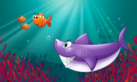 Illustration of a big shark and three nemos under the sea Vector