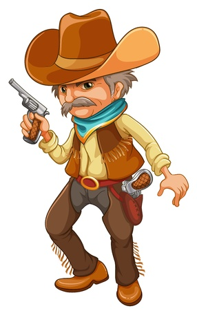 gunman: Illustration of a cowboy holding a gun on a white background Illustration