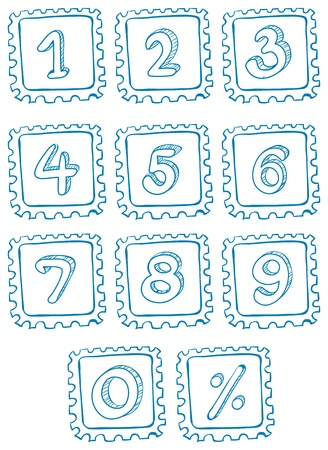 Illustration of the numbers inside the squares on a white background