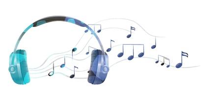 Illustration d'un casque avec des notes de musique sur un fond blanc Vecteurs