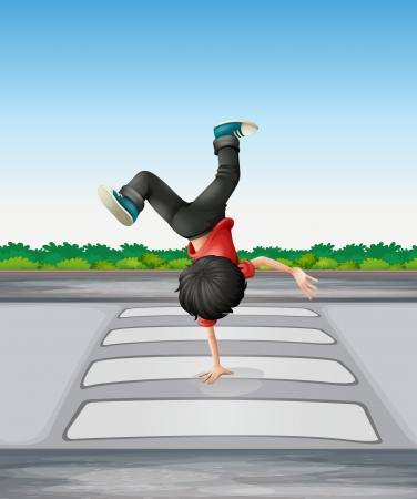 Illustration of a boy breakdancing at the pedestrian lane Stock Vector - 19301747