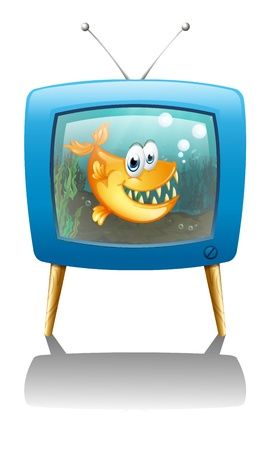 Illustration of a television show about fish on a white background Vector