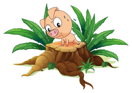 timber cutting: Illustration of a pig exercising above a tree on a white background