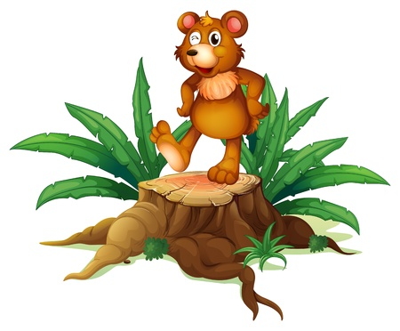 Illustration of a trunk with a bear on a white background Vector