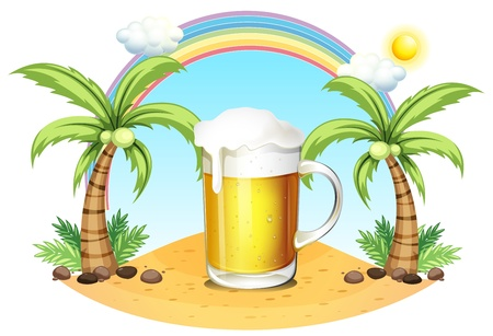 sea shore: Illustration of a glass of beer at the beach on a white background Illustration
