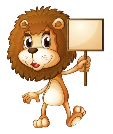 Illustration of a lion holding an empty sign board on a white background Stock Vector - 19301522
