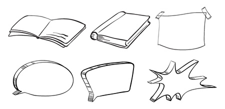 callout: Illustration of the different writing materials on a white background Illustration
