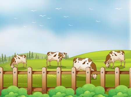 rootcrops: Illustration of a farm with cows