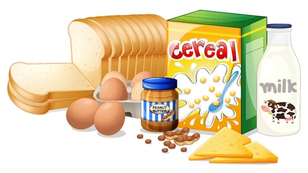 bread and butter: Illustration of the foods ideal for breakfast on a white background Illustration
