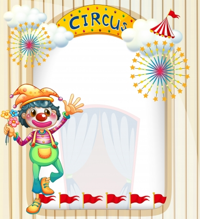 Illustration of a clown at the circus entrance Vector