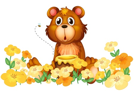 Illustration of a bear with a honey at the garden on a white background Vector
