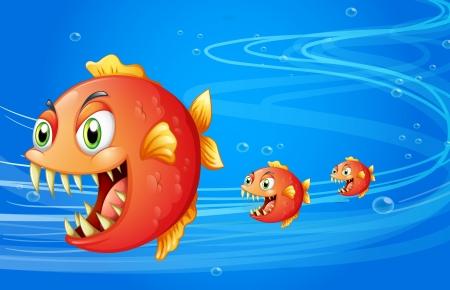medium: Illustration of three fishes under the water