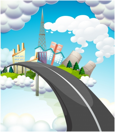 steel bridge: Illustration of a road going to the city