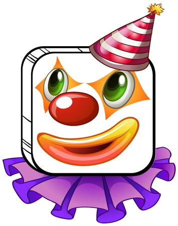 clown nose: Illustration of a square-faced clown with a party hat on a white background