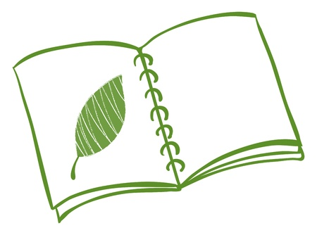 Illustration of a notebook with a drawing of a green leaf on a white background Vector
