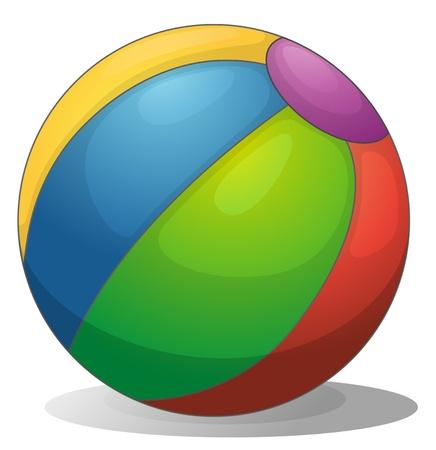balon de voley: Ilustración de una pelota de playa de colores sobre un fondo blanco
