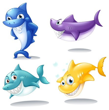 Illustration of a group of sharks on a white background  Vector
