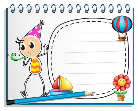 Illustration of a notebook with a drawing of a boy with a party hat on white background Stock Vector - 19301325