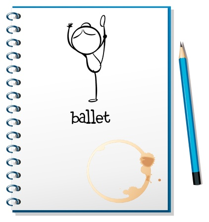 Illustration of a notebook with a drawing of a girl dancing ballet on a white background Stock Vector - 19301293