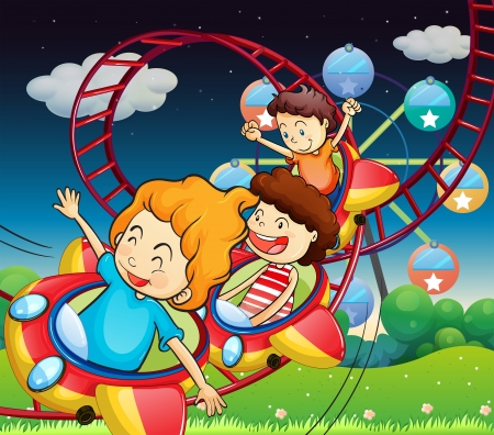 multiple image: Illustration of the three kids riding in a roller coaster Illustration