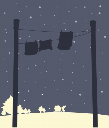 Illustration of the hanging clothes during snow Stock Vector - 19301254