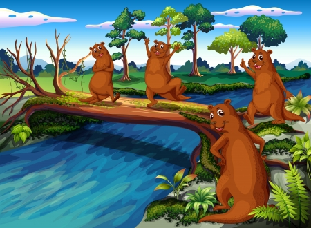 Illustration of the four wild animals at the riverside Vector