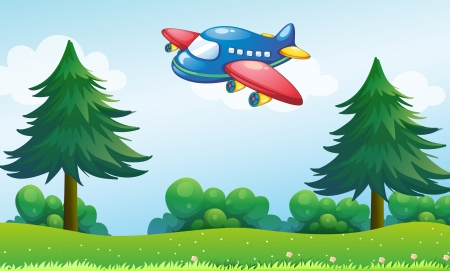 jetplane: Illustration of a toy plane flying above the hill