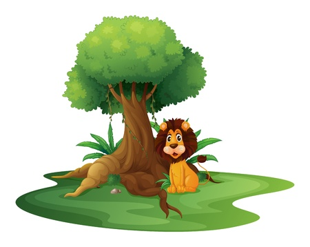 under tree: Illustration of a lion sitting under the big tree on a white background