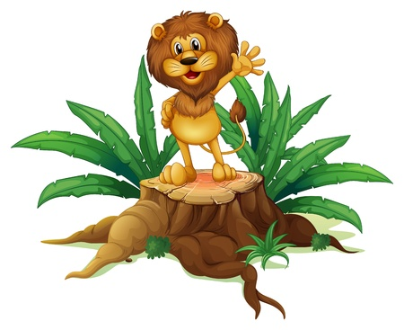 cut logs: Illustration of a big tree with a lion on a white background Illustration