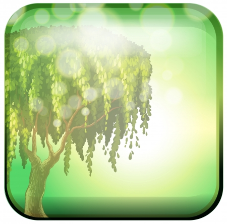 bush mesh: Illustration of a tree inside a green square on a white background