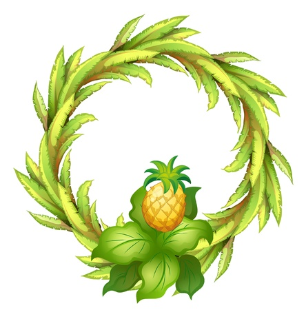 Illustration of a green border with pineapple on a white background Vector