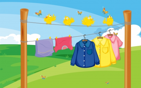 Illustration of a flock of birds near the hanging clothes Illustration